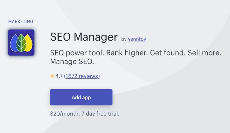 ShopifyアプリSEO Managerについて