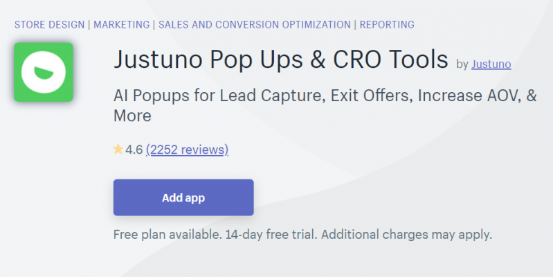 Justuno Pop Ups & CRO Tools